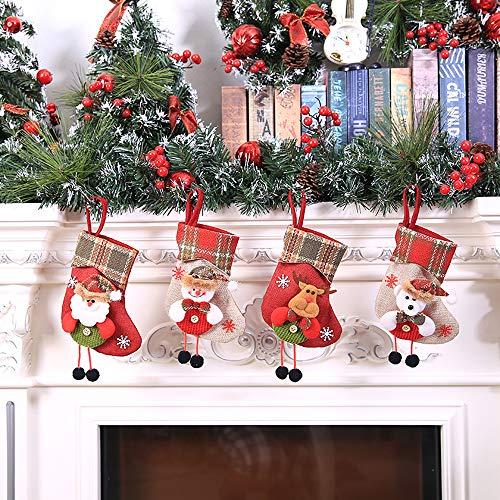 Iusun Christmas Candy Gift Bag, Santa Claus Mini Sock Bag Xmas Tree Hanging Decor (A)