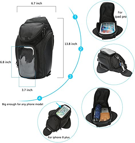 Motorcycle Magnetic Waterproof Textile Tank Bag with Strong Magnets map pocket with Rain Cover