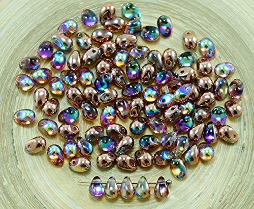 40pcs Crystal Copper Rainbow Czech Glass Small Teardrop Beads 4mm x 6mm