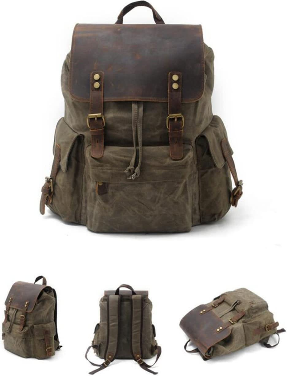 DABUOY Mens Large-Capacity Canvas Waterproof Fashion Casual Backpack Outdoor Travel Backpack,ArmyGreen