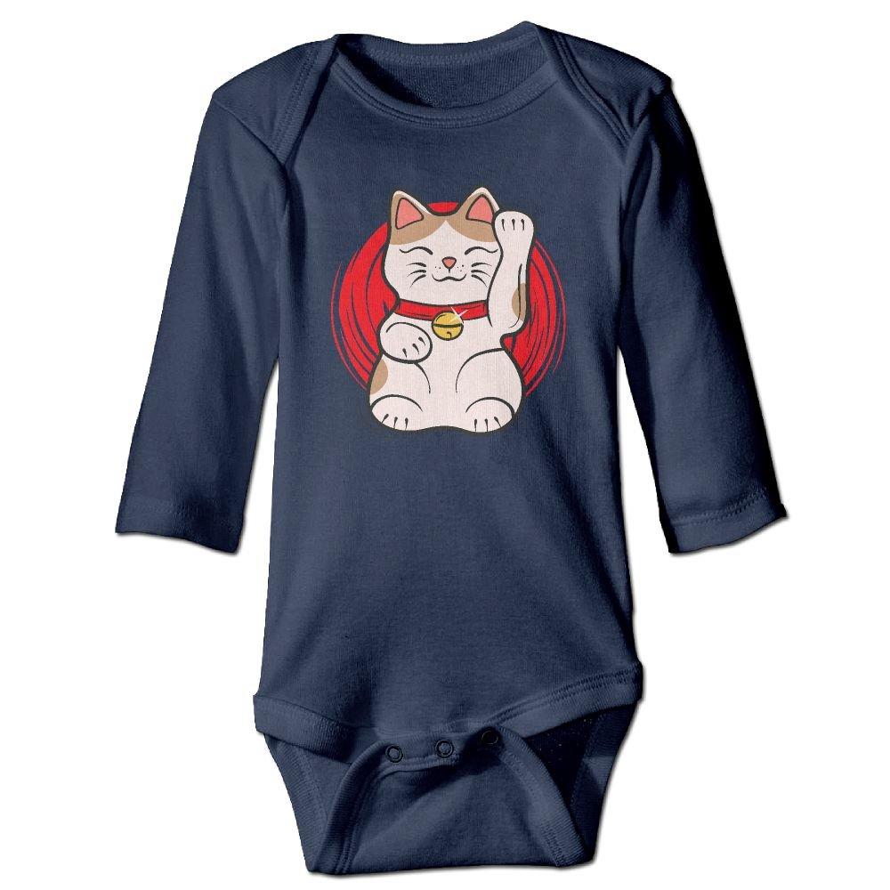 Japanese Lucky Cat Little Baby Long Sleeve Bodysuits