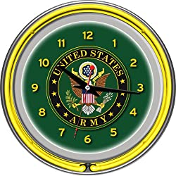 United States Army Chrome Double Ring Neon Clock, 14