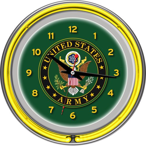 United States Army Chrome Double Ring Neon Clock