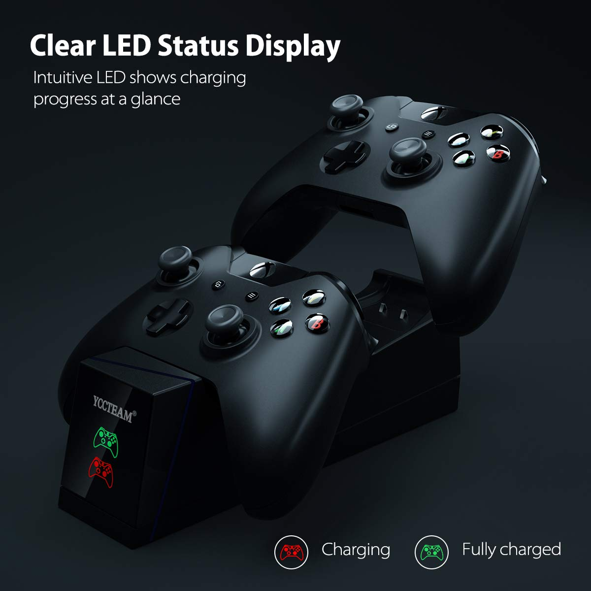 VGAME Xbox One Controller Charger Station with Rechargeable Battery Packs - Dual Slot Charging Base Dock & 2 Pack Replacement Batteries Accessories for Xbox ONE S/X Elite