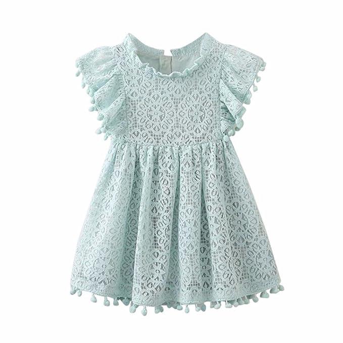 K-youth® Elegante Bordado Ropa Bebe Niña Princesa Vestido De Encaje Estampado Floral Hueca Vestidos De Fiesta Bautizo Cumpleaños Vestidos Niña