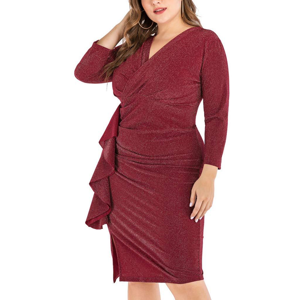 Womens Plus Size Lace Patchwork Half Sleeve Midi Dress Elegant Mother of Bride Party Dresses Knee Length Dress