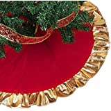 christmas tree skirt holiday decor christmas tree decorations golden ruffle edge red christmas party decoration xmas tree ornaments 2018 - Gold Christmas Tree Skirt