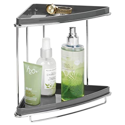 mDesign Baldas para baño en esquina – Organizador para baño con pie y dos niveles para