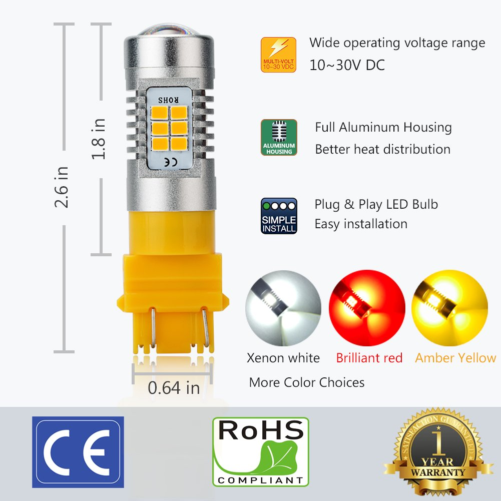 ENDPAGE 3157315630573056 LEDBulb2-pack, Amber Yellow, ExtremelyBright, 21-SMD with Projector Lens, 12-24V,Works asTurnSignalBlinker Lights by ENDPAGE (Image #4)