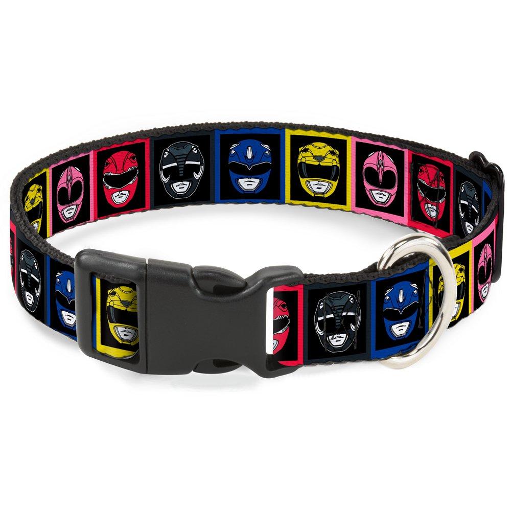 1 2\ Buckle-Down Power Rangers Faces Blocks  Breakaway Cat Collar, 1 2  x 8-12  Medium