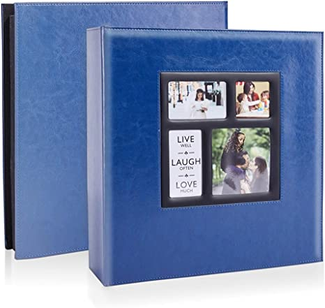 Amazon Com Photo Picutre Album 4x6 500 Photos Extra Large Capacity Leather Cover Wedding Family Photo Albums Holds 500 Horizontal And Vertical 4x6 Photos With Black Pages Blue Home Kitchen