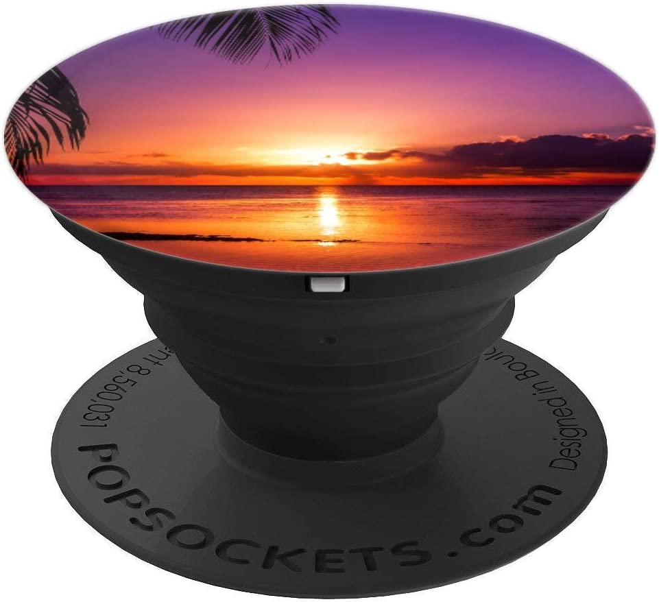 Sunset Sun Beach Tropical Blue Ocean Sea Sky Nature PopSockets Grip and Stand for Phones and Tablets