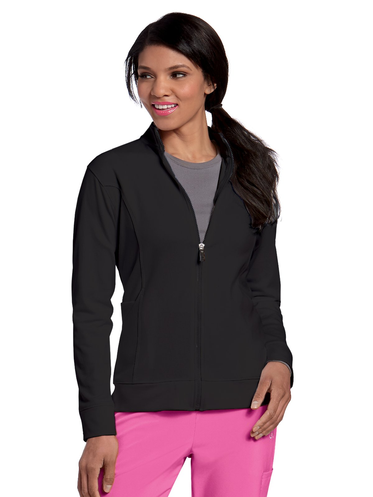 Landau Urbane Performance 9872 Women's Empower P-Tech Warm-up Scrub Jacket Black L by Landau