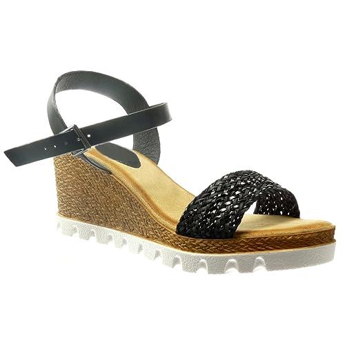 Angkorly - Zapatillas Moda Sandalias Alpargatas Plataforma Abierto Mujer Cuerda Talón Plataforma 7 CM: Amazon.es: Zapatos y complementos