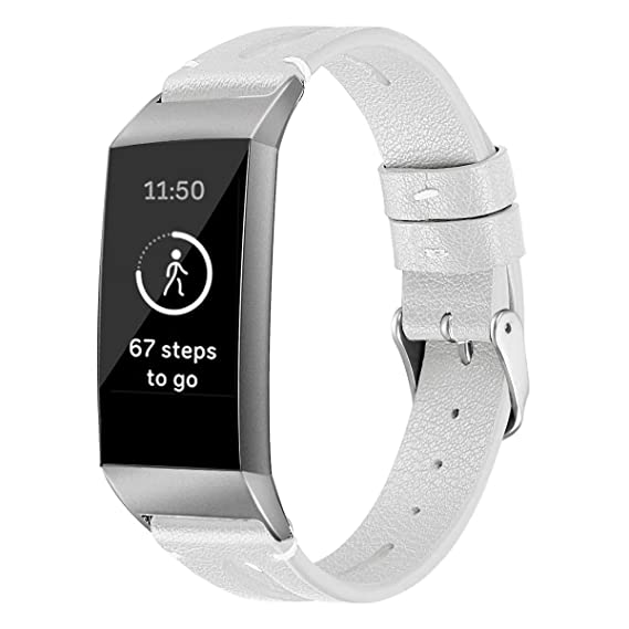 Amazon com: Leather Watch Band for Fitbit Charge 3 Band with Metal