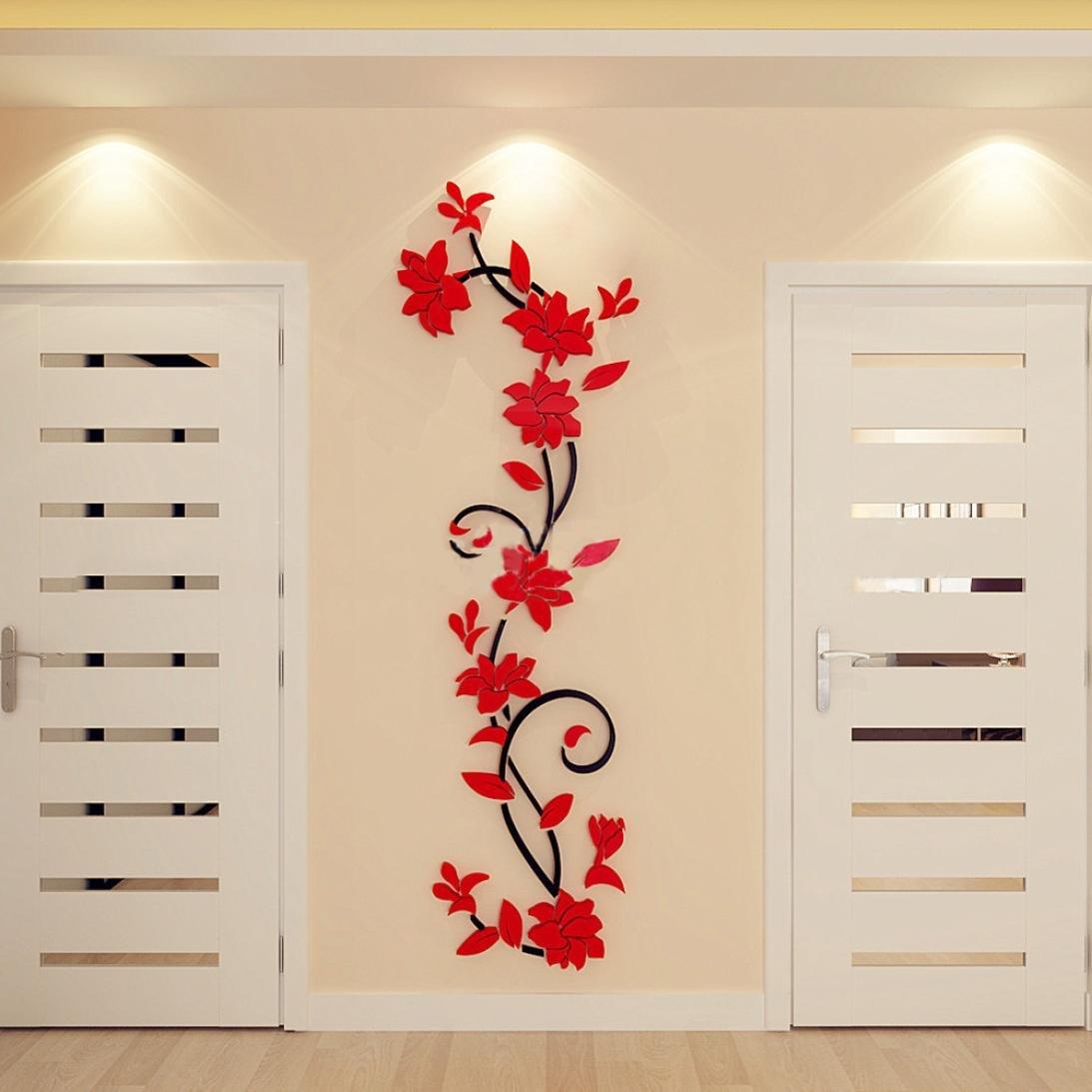Faszinierend Wandtattoo Rot Foto Von Jamicy® Diy 3d Acryl Blume Wand Aufkleber