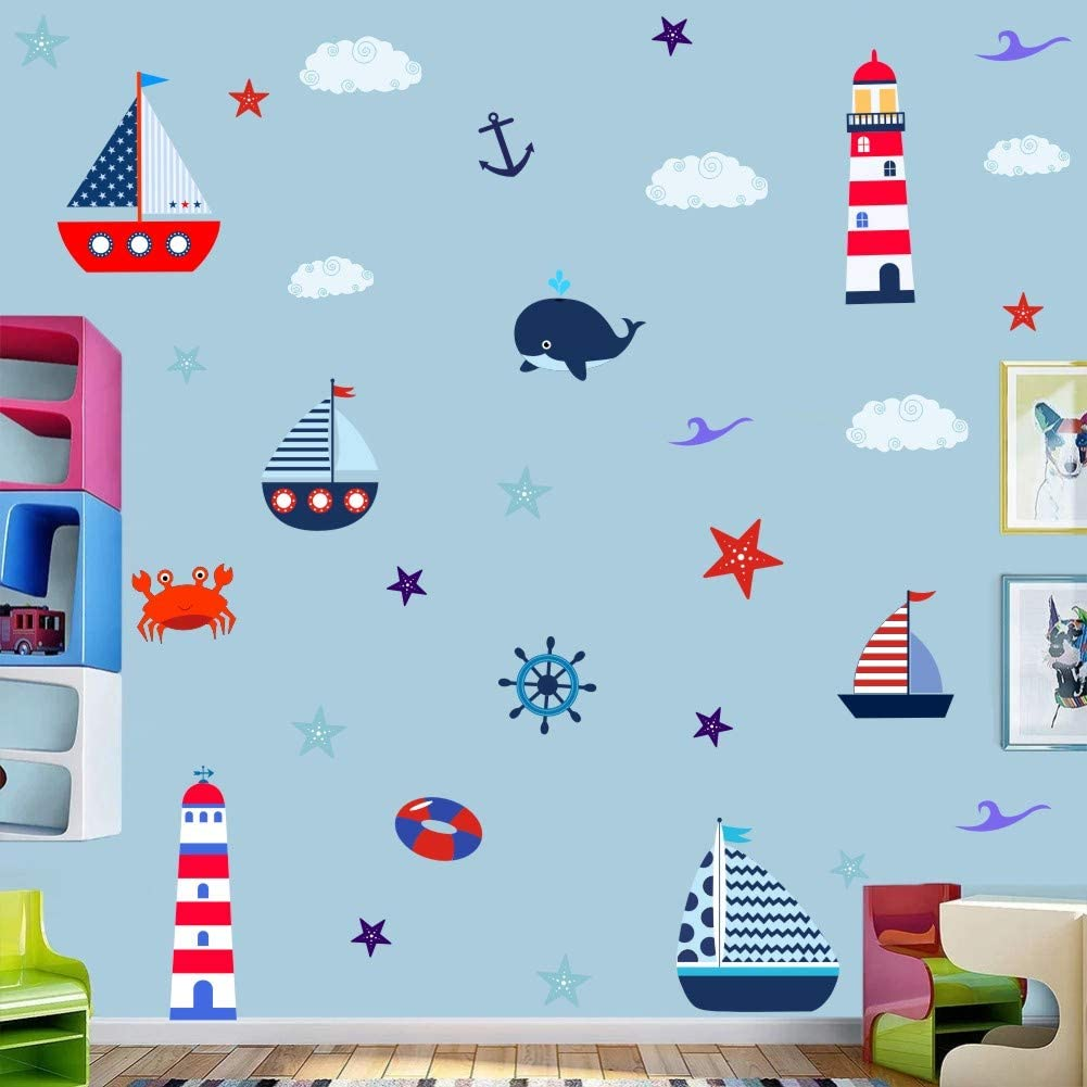 Colorful Nautical Wall Decal, Lighthouse Sailboat Whale with Clouds Wall Sticker for Kids Decoration, Ocean Themed Sticker Home Wall Art