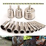 Hitommy 15pcs 3-42mm Diamond Drill Bits Set Hole Saw Cutter for Glass Ceramic