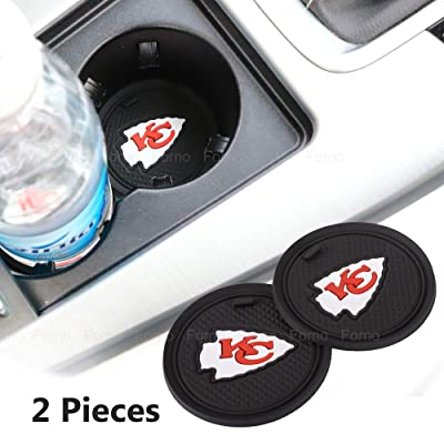 2 Pack 2.75 inch for Kansas City Chiefs Car Interior Accessories Anti Slip Cup Mat for All Vehicles (Kansas City Chiefs): Automotive
