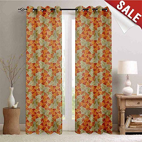 Pinwheel, Drapes for Living Room, Earth Tones Inspired Artistic Abstract Motifs in Striped Circular Vintage Shapes, Window Curtain Fabric, W96 x L96 Inch Multicolor