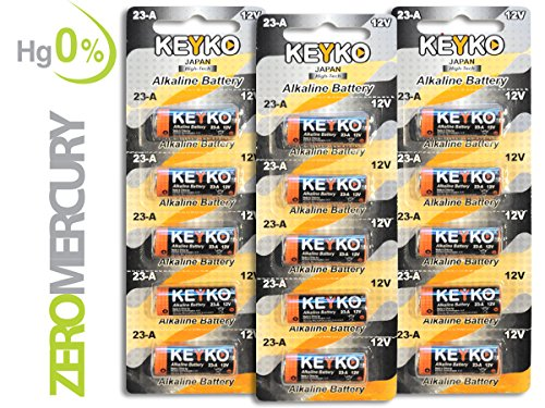 A23 Battery 12V Alkaline 55 mAh – 15-Pcs Pack – for Garage Doors Opener, Ceiling Fans & Wireless Doorbells Remotes Type: 12 Volt MN21 23GA 21/23 GP23AE A23G A23S – 2 Years Warrantee – Genuine KEYKO