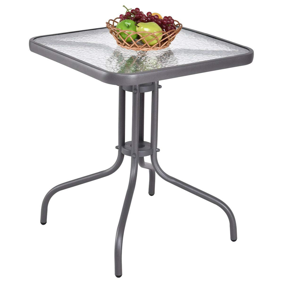 Eosphor US New Square Patio Table Garden Furniture Courtyard Outdoor Coffee Table Tempered Glass Top Steel Frame
