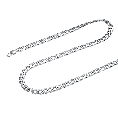 9002f2e3067 FOCALOOK 316L Stainless Steel Chain Necklace for Men Boys Necklace Wide 5MM  18Inch Thick Silver Color