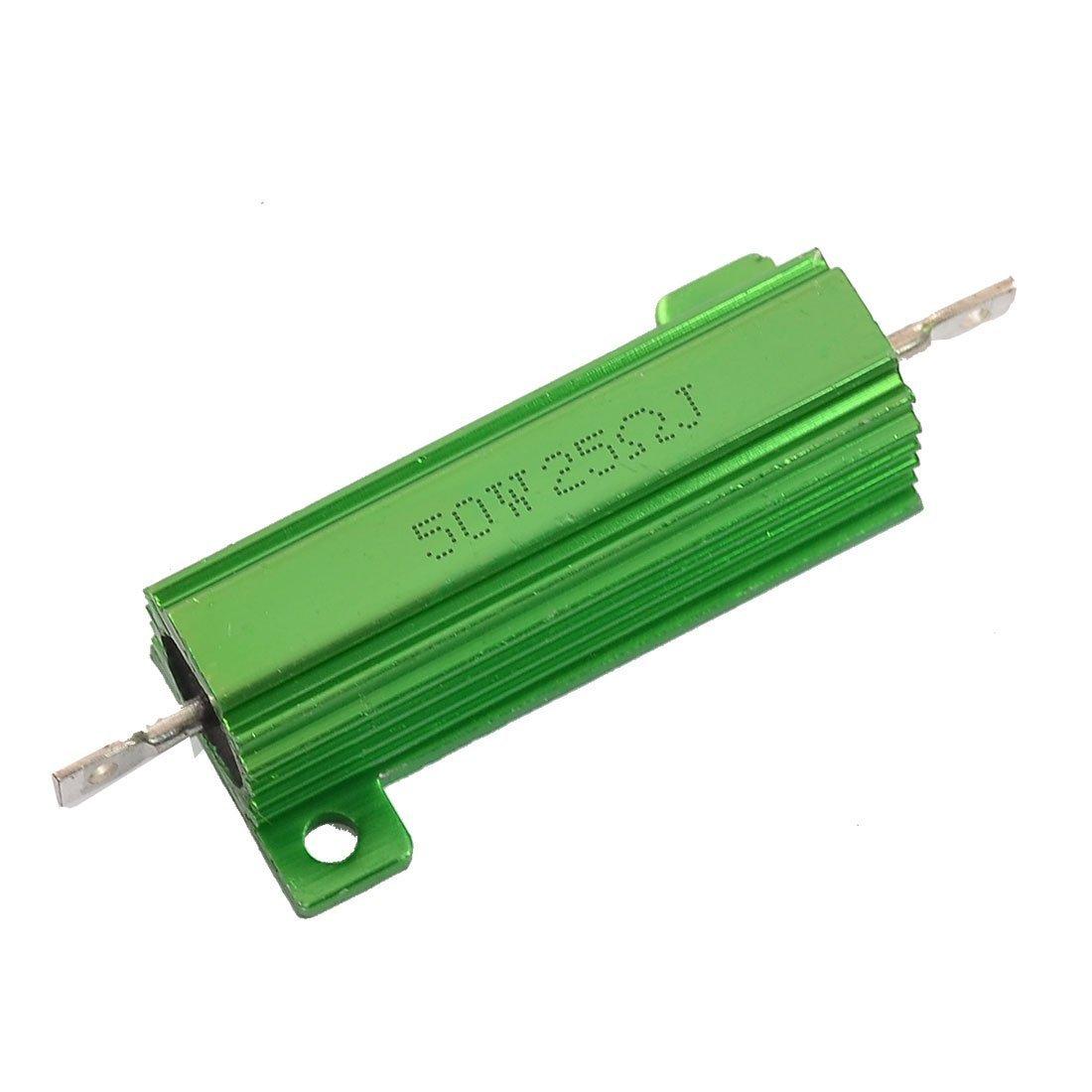 RilexAwhile Aluminum Shell Resistor 50W 25 Ohm Chassis Screw Tap Mounted Wirewound Resistors Green Heatsink