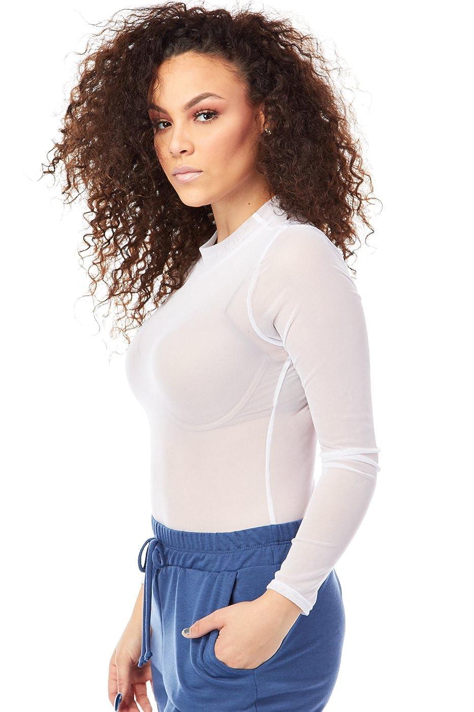 S, White GENx Womens Adult Sheer Catsuit Mesh Bodysuit B2078