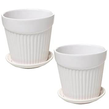 Amazon Set Of 2 Small White Decorative Ribbed Ceramic Plant