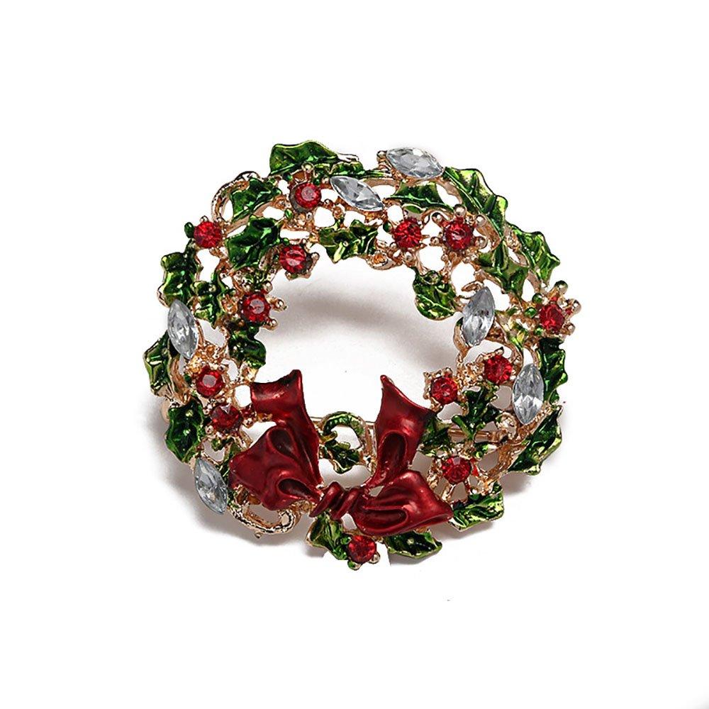 Tidooジュエリーラインストーンクリスタルブローチピン女性用クリスマス装飾ギフト クリスマスリース  B0778DT3TS