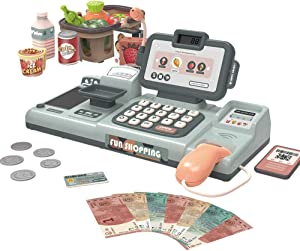 RVEE Toy Cash Register Shopping Pretend Play Money Machine -Realistic Actions & Sounds with Scanner, Calculator,Microphone,Credit Card Reader,Play Food Set -Early Educational Learning Set For Toddlers