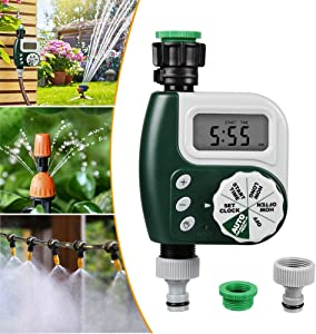 Innoo Tech Digital Water Timer, 2020 Upgrade Programmable Faucet Watering Timer with Huge LCD Display, Waterproof Automatic Sprinkler Controller for Garden Yard Lawn Drip Irrigation Watering System