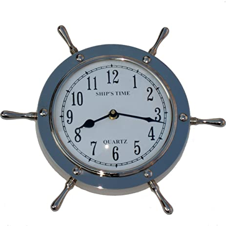 Silver Ships Wheel Wall Clock Solid Nickel Plated Nautical Decor