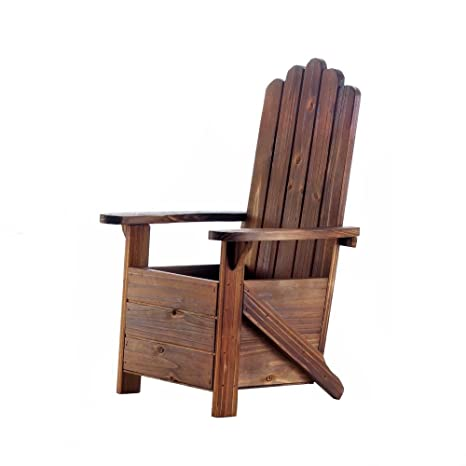 Wood Planter, Rustic Outside Adirondack Chair Outdoor Decorative Planters  Decor