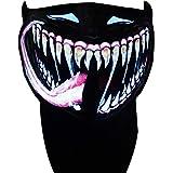 SATUMIKO LED Mask Sound Reactive Light Up Mask Halloween Scary Masks for Rave,EDM,EDC,Burning Man,Party and Festivals