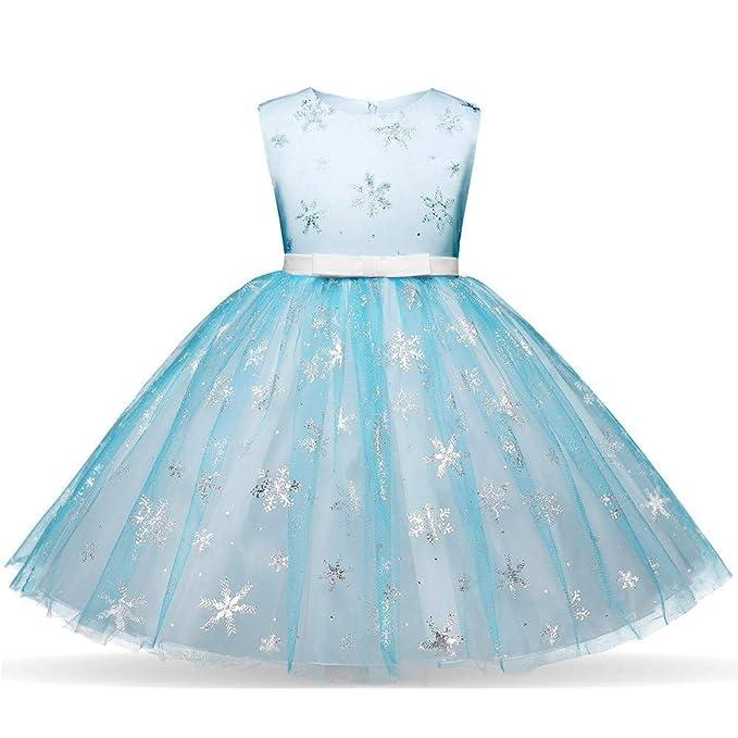 Tefamore Niñas Princesa Vestido Niña Sin Mangas Lentejuelas Copo de Nieve Imprimiendo Malla Falda Princesa Falda de Vestir Vestido Azul,100 110 120 ...