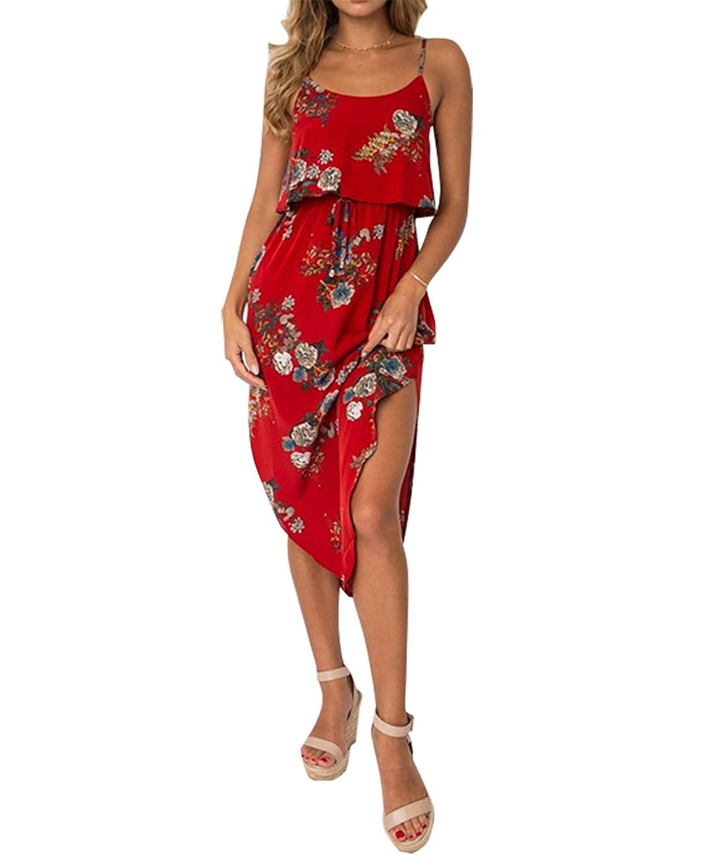 5873a9aa2f91ea neu Aswinfon Damen Elegant Ärmellos Maxikleid Blumenmuste Sommerkleid  Partykleider Kleider mit Spaghetti