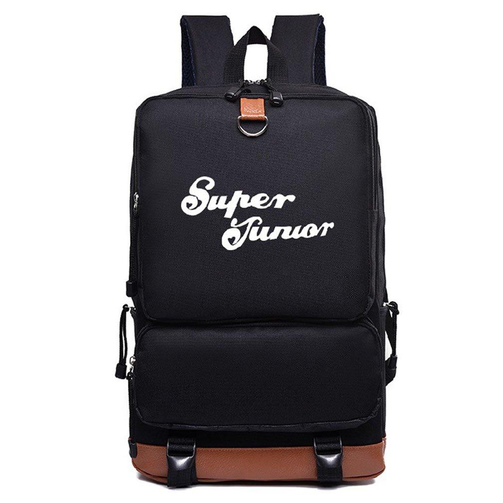 ALLDECOR スーパー ジュニア ナイロン バックパック ユニセックス カジュアル ショルダー バッグ ブラック スクールバッグ B07F24HFKH
