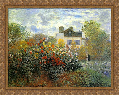 Galleria Monets Garden (The Garden of Monet at Argenteuil 36x28 Large Gold Ornate Wood Framed Canvas Art by Claude Monet)