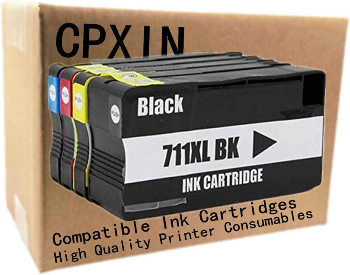 """Replacement for HP 711XL 711 XL for HP711XL for HP711 CZ129A CZ130A CZ131A CZ132A Ink Cartridge Inkjet Cartridges Use for Designjet T120 24"""" T520 24 T520 36"""" Large Format Printer"""