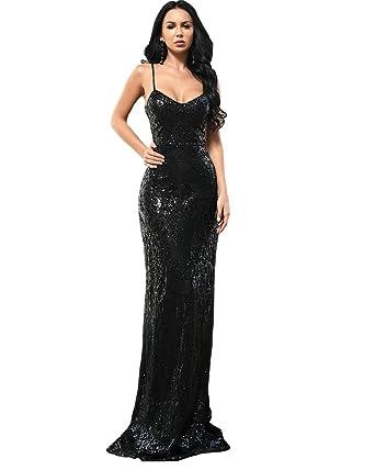 82e437c5e7 Miss ord Women Sexy V Neck Off Shoulder Backless Sleeveless Sequin ...