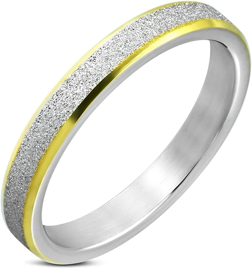 Stainless Steel Sandblasted 2 Color Step-Edge Wedding Flat Band Ring