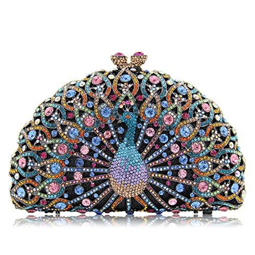 Navy Clutch Luxury For Crystal Clutches Diamonds Glitter Women Purse Banquet Peacock Evening Blue Bag wBTq7BX