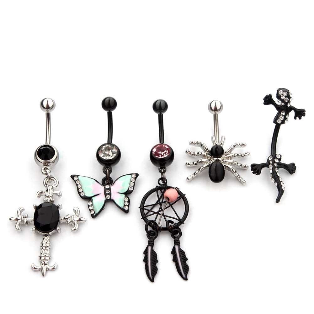 5 Pieces 14G Belly Button Rings Body Piercing Jewelry Wholesale Vcmart DDQ51092-CA