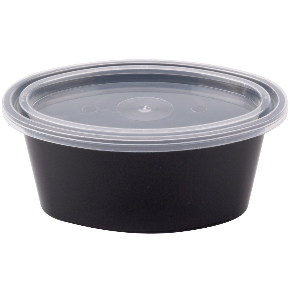 Newspring E503-B ELLIPSO 3 oz. Black Oval Souffle / Portion Cup with Clear Lid - 500/Case