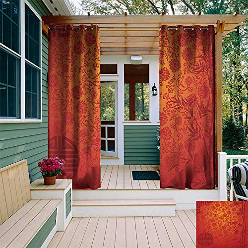 leinuoyi Asian, Outdoor Curtain Ends, Eastern Ethnic Scenery with Branches Traditional Chinese Symbols Print, for Patio Furniture W96 x L108 Inch Pale Orange Ruby Burgundy ()
