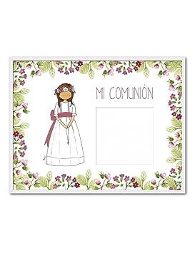 Cuadriman - Portafotos de Comunión - Lucía - Greca de Flores Diseño ...