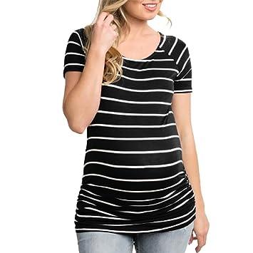Igemy- Blouses para Mujeres Embarazadas, Moda para Mujeres Embarazadas, Cuello Redondo, Rayas