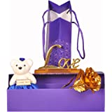 Luxurious 24k Gold Rose with Love Stand and a Soft Teddy Bear
